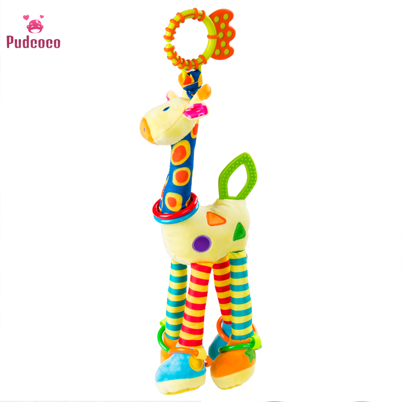 Pudcoco Giraffe Animal Handbells Baby Newborn Lovely Soft Rattles Plush Pram Bed Bells Soft Teether Hanging Toy