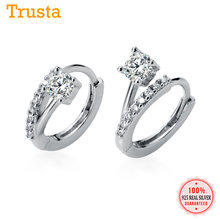 High Quality CZ Clip On Earrings 100% Genuine 925 Sterling Silver Dazzling Ear Cuff Girl Gift For Women Piercing Earings DT64(China)