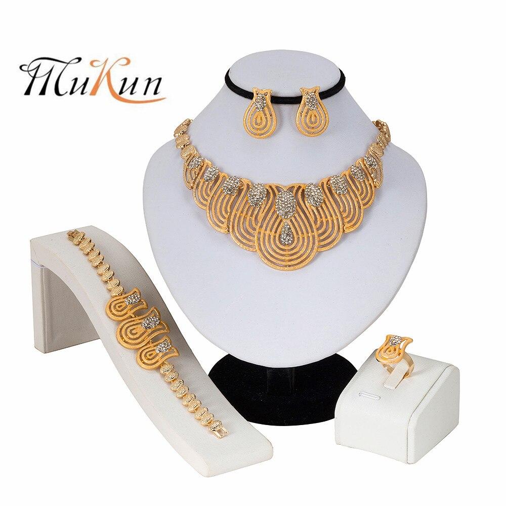 MUKUN 2019 Fashion Nigerian Woman Wedding African Beads Jewelry Set Gold Color Dubai Bridal Gift for