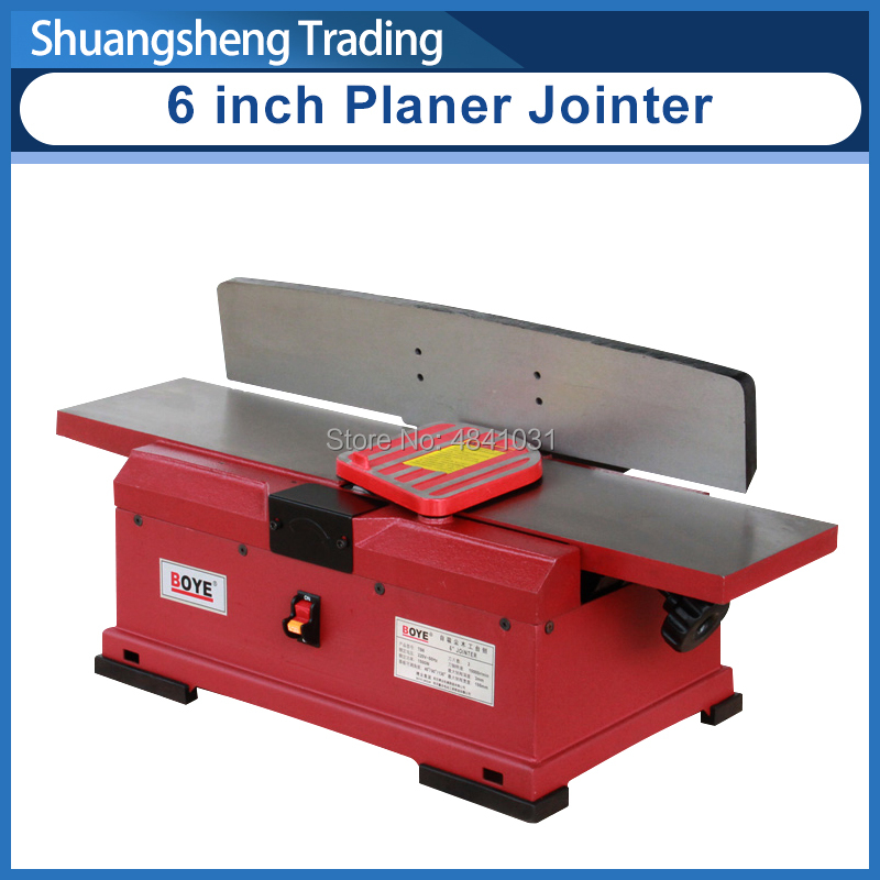 6 Inch Wood Planer Machine Wood Jointer Tool Industrial Grade Multi-Angle Wood Planer Automatic Vacuum Cleaning 1100W 220V