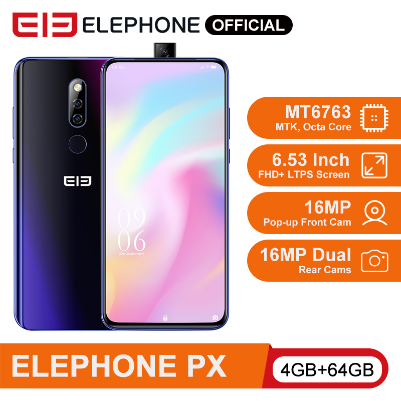 ELEPHONE PX Helio MT6763 Octa Core Smartphone 4GB 64GB 6.53'' FHD+ Screen 16MP Pop-Up Front Cam 3300mAh Android 9.0 Cellphone