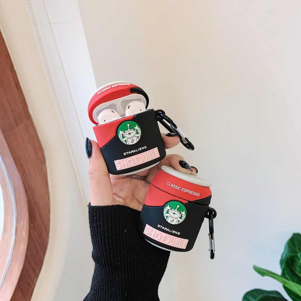 新しい 3D クラシックエスプレッソボトルスターエイリアンヘッドホンアクセサリー apple airpods 1/2 シリコーン保護イヤホンカバー