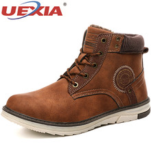 UEXIA Male Shoes Men Boots 2019 Winter Warm Plush Fur Snow warm Non-slip Men Lace-Up Suede Leather Sneakers Non-slip botas shoes cheap Snow Boots Hemp ANKLE Fits true to size take your normal size Round Toe patchwork Platform Rubber Adult Low (1cm-3cm) 0222