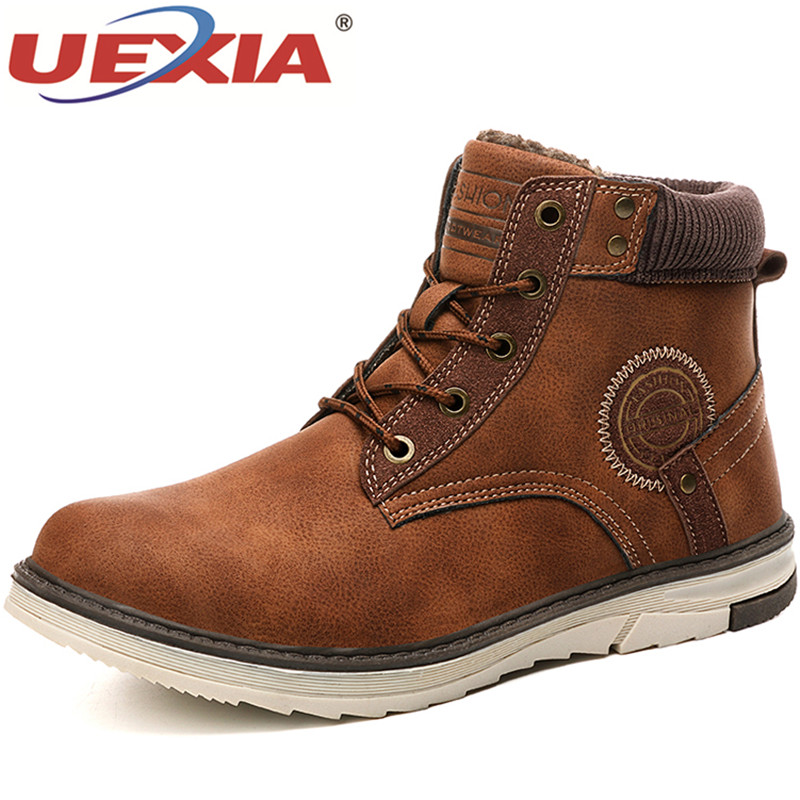 UEXIA Male Shoes Men Boots 2019 Winter Warm Plush Fur Snow Warm Non-slip Men Lace-Up Suede Leather Sneakers Non-slip Botas Shoes