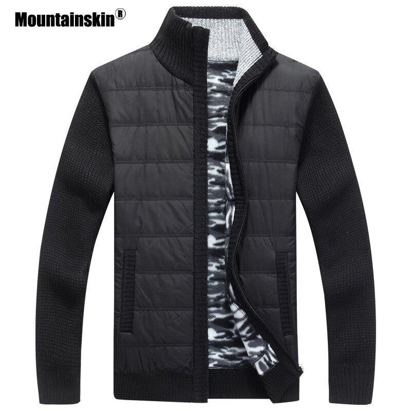 Mountainskin Men's Sweaters Winter Warm Fleece Knitted Sweater Autumn Jackets Cardigan Coats Male Clothing Casual Knitwear SA839