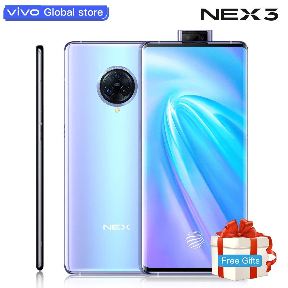 Téléphone portable d'origine vivo Nex3 5G 64.0MP caméra téléphones portables 4500mAh grande batterie 44W charge rapide 6.89 pouces écran téléphone intelligent