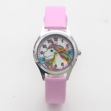New arrival Fashion Quartz kids cartoon Unicorn rainbow Watc