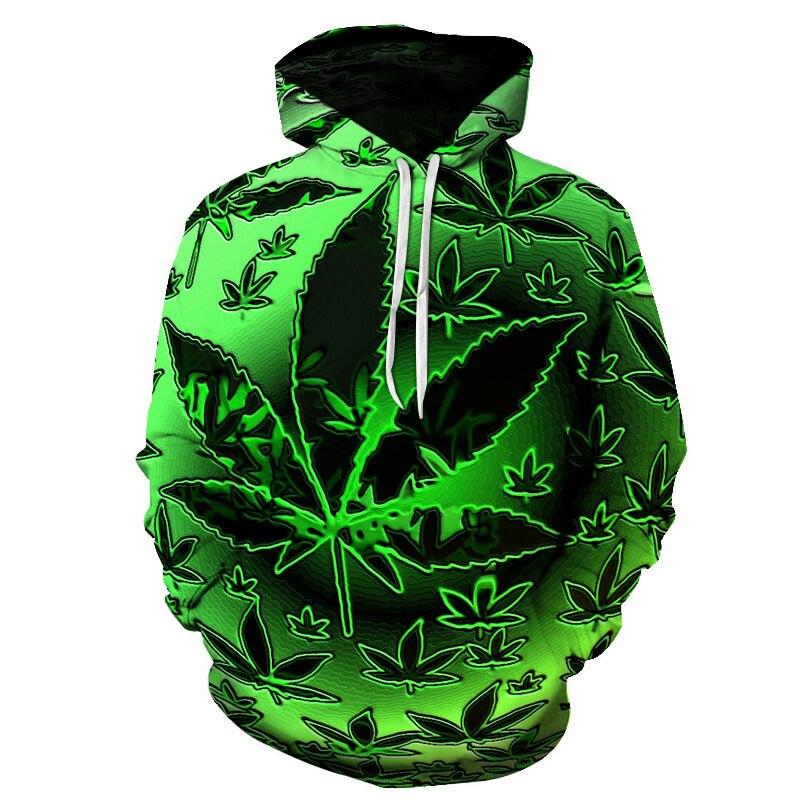 Engraçado natural ervas daninhas legal fresco verde folhas de erva daninha crânio impressão completa 3d moletom legal do homem topo t outono hoodie outfit dropship|Agasalhos e Moletons|   -