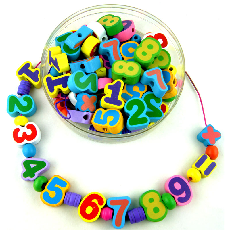 Free Shipping 80PCS Grains Colored/Digital Shape Block DIY Bead Wooden Educational Toy Children's Jewelery Making Utilities Gift