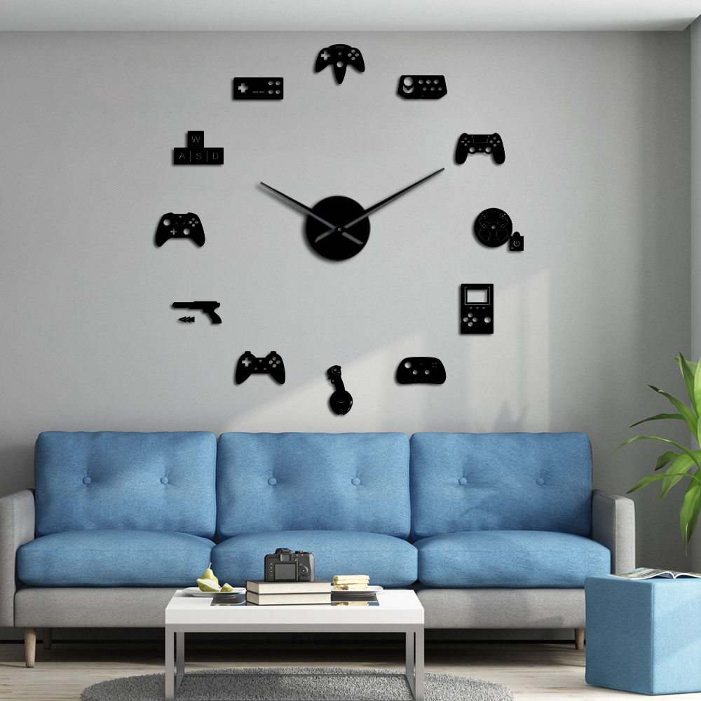 Game Controller Video DIY Giant Wall Clock Game Joysticks Stickers Gamer Wall Art Video Gaming Signs Boy Bedroom Game Room Decor|Wall Clocks| |  - title=