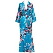 Plus Size XXXL Chinese Women Long Robe Print Flower Peacock Kimono Bath Gown Bride Bridesmaid Wedding Bathrobe Sexy Sleepwear