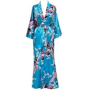 Image 1 - Plus Size XXXL Chinese Women Long Robe Print Flower Peacock Kimono Bath Gown Bride Bridesmaid Wedding Bathrobe Sexy Sleepwear