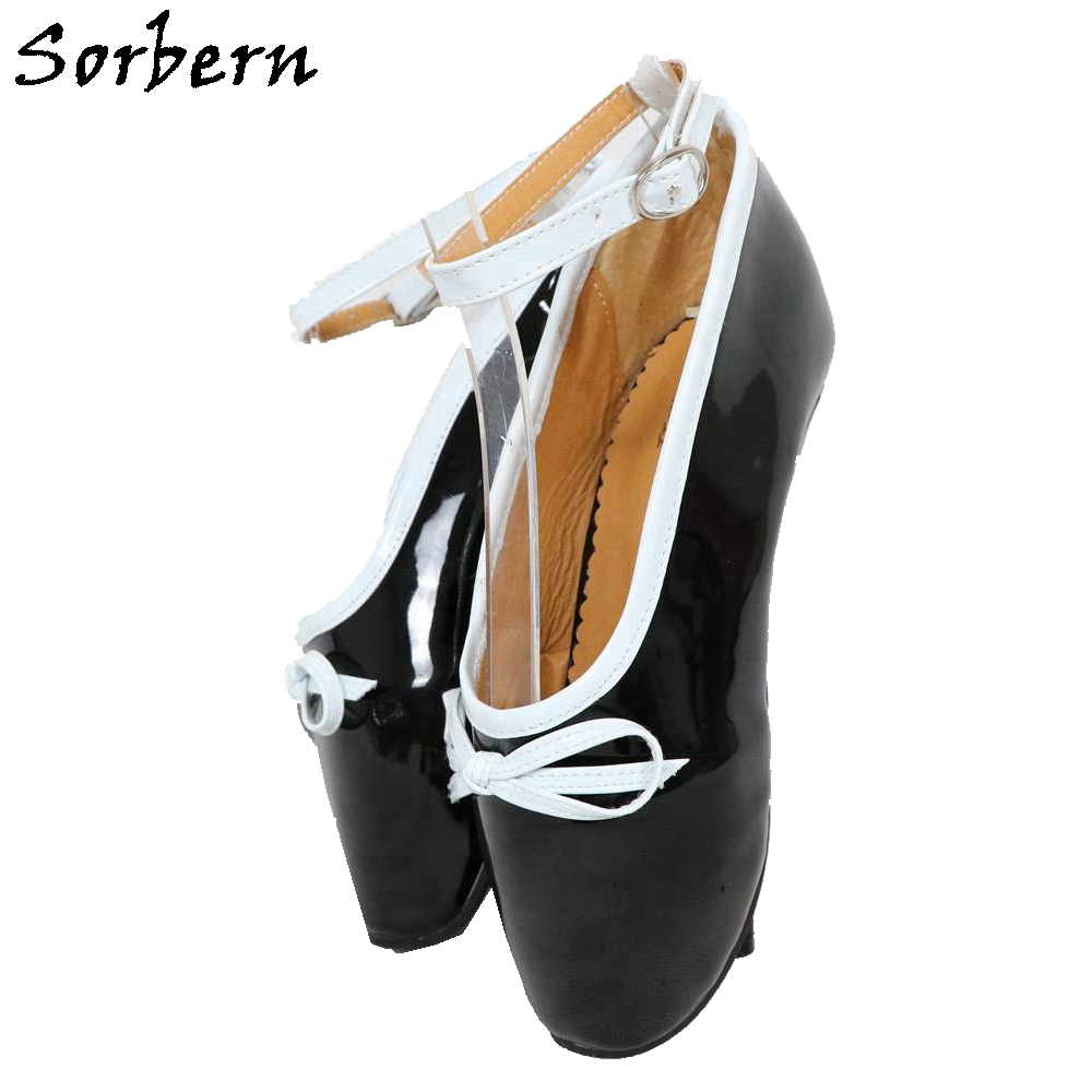 Sorbern Buckle Strap Women Ballet Stilettos Pumps Bow 18CM Heels Patent Leather Designer Shoes Women Pumps Luxury 2019