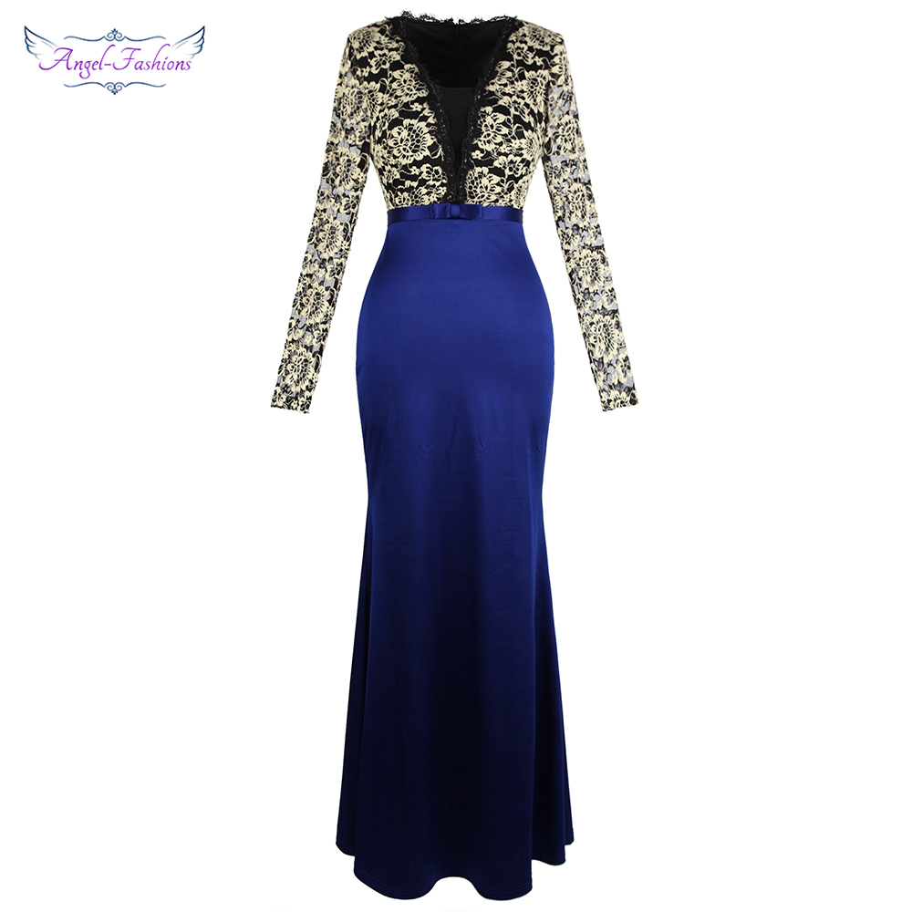 Angel-fashions Long Sleeve Lace Evening Dress V Neck Bow Belt Satin Party Dress Royal Blue 451