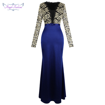Angel-fashions Long Sleeve Lace Evening Dress V Neck Bow Belt Satin Party Royal Blue 451 - discount item  25% OFF Special Occasion Dresses