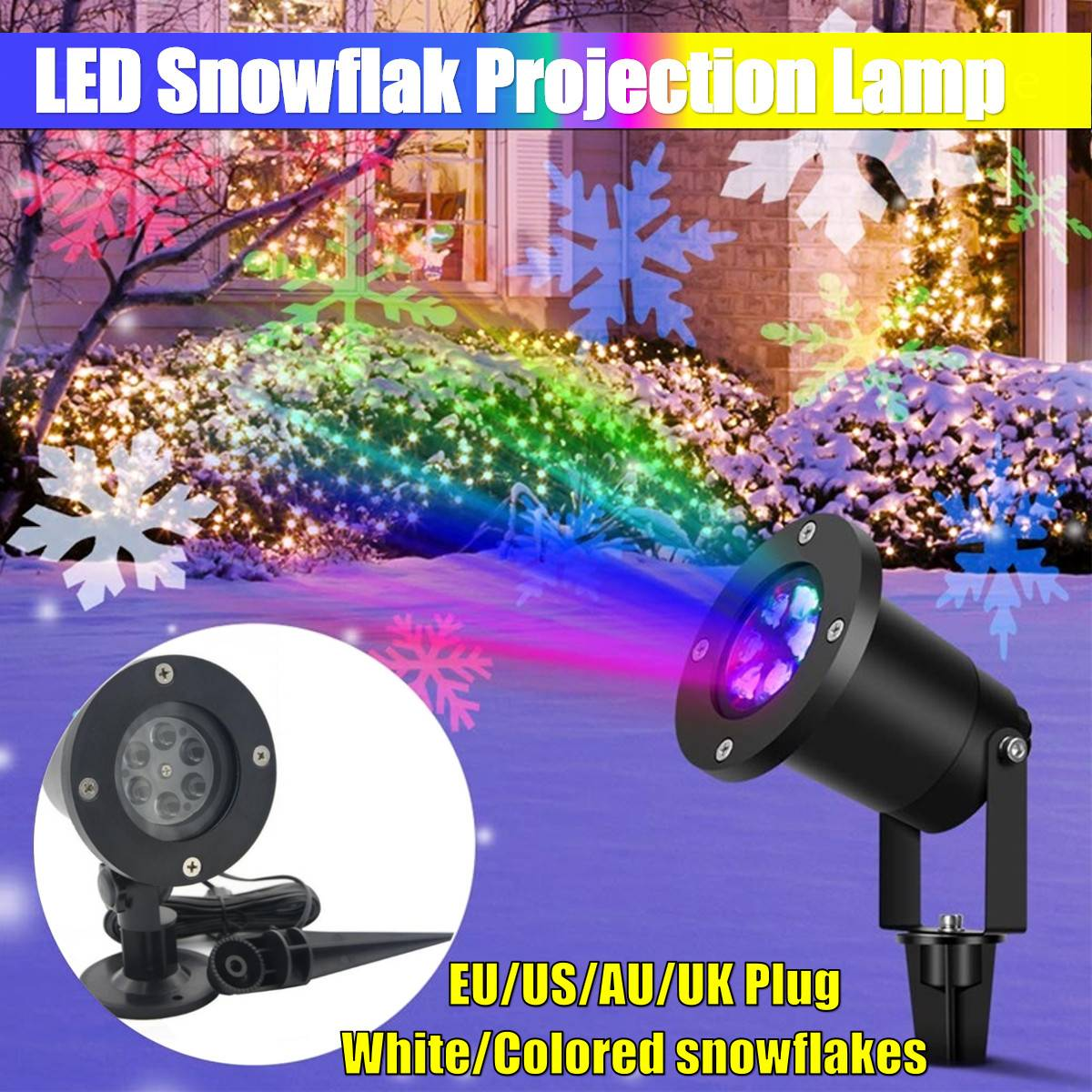 Waterproof Moving Laser Projector Lamp White Snowflake  LED  Light For Christmas New Year Party Light Landscape Garden Lamp