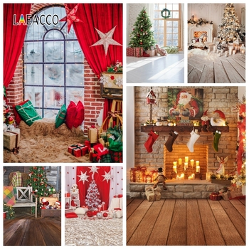 Christmas Backdrops Fireplace Curtain Window Gifts Tree Photography Backgrounds New Year Party Photocall Photo Studio