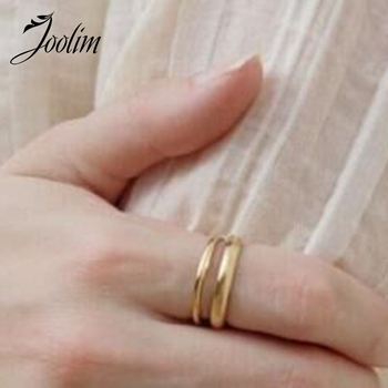 Joolim Simple Gold Color Stainless Steel Band Rings For Women Stainless Steel Jewelry mae rose gold color round thin titanium stainless steel rings for women simple style fashion jewelry weding rings