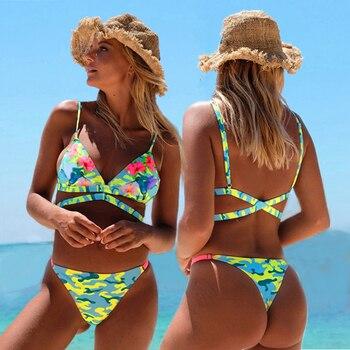 Women Swimsuit Thongs Bikini Sexy Swim Wear Ladies Swimwear For Floral Push Up Bikinis