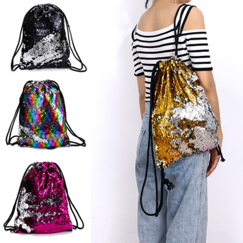 Sequin Drawstring Bags Reversible Sequin Backpack Glittering Shoulder Bags For Girls Women H9