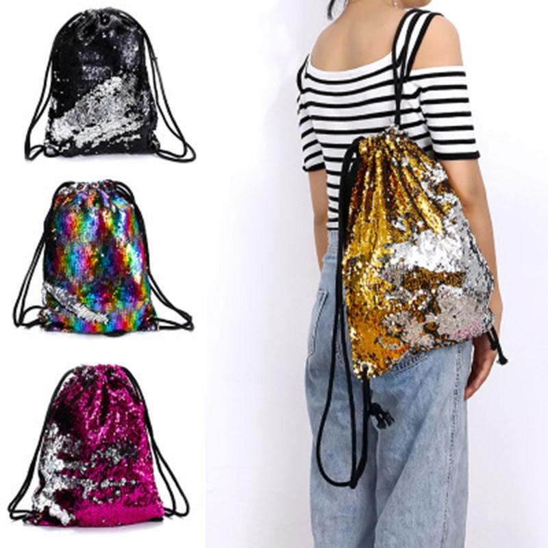 Sequin Drawstring Bags Reversible Sequin Backpack Glittering Shoulder Bags For Girls Women H9