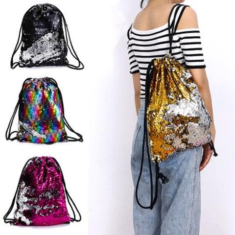 Bolsas de Ombro para Meninas Sequin Drawstring Bags Reversível Lantejoulas Mochila Brilhante Feminino h9