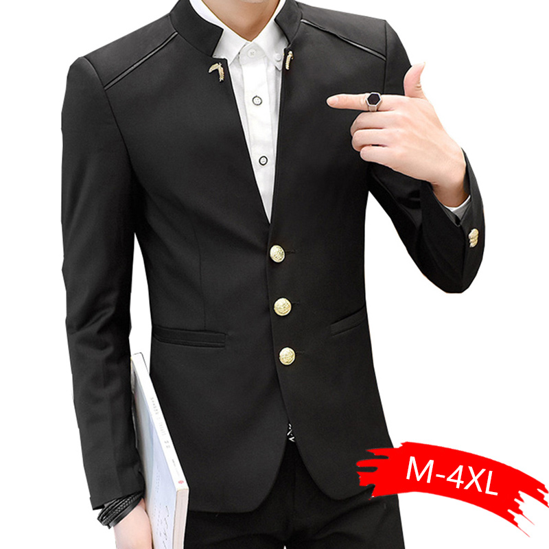 Blazer Men Formal Work Slim Blazer New Fashion Stand Collar Full Sleeve Man Casual Blazer Marry For Spring Autumn Winter