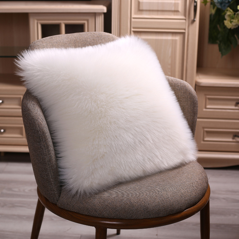 40/45/50cm Pure White/Grey Cushion Cover One Side Faux Fur Decorative Throw Pillow Case Square Plush For Home Sofa Decor