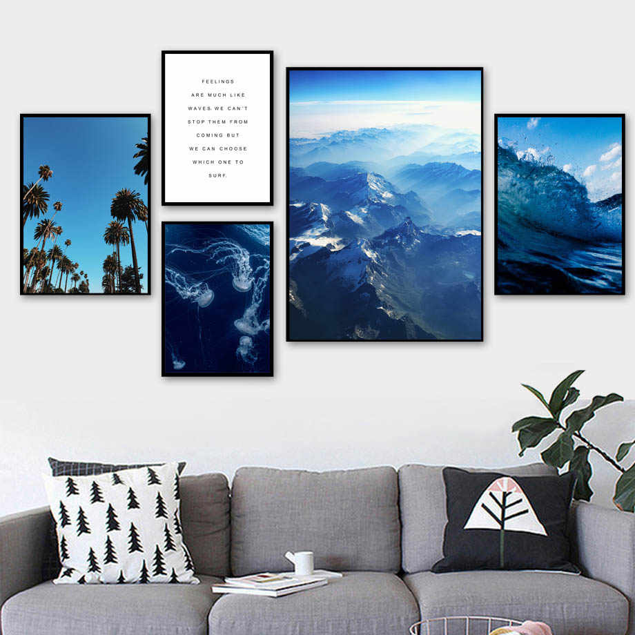 Синяя Акула Медузы КИТ серфинга художественная стена с цитатой холст живопись