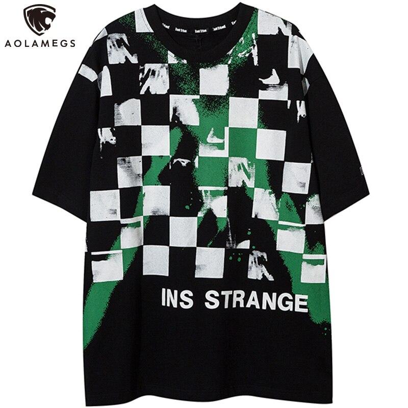 Aolamegs-camisetas de dibujo grafiti para hombre, camiseta de gran tamaño informal de Hip-Hop, Camiseta estilo urbano de verano