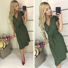 Dabourfeel Women Sashes Waisted Casual Knee Dress Lady Sexy V neck Solid Elegant