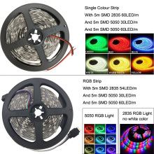 Led Strip White Warm White RGB 5m 2835smd fita de Led Tape Diode Feed tiras RibbonDC 12V Power Adapter 12V Led Light With