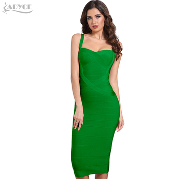 Adyce 2020 New Summer Woman Bandage Dress Red Green Backless Club Dress Sexy Sleeveless Celebrity Bodycon Party Dress Vestido summer satin sexy backless lace up slim bodycon dress sexy club sleeveless bandage dresses women sexy party dress
