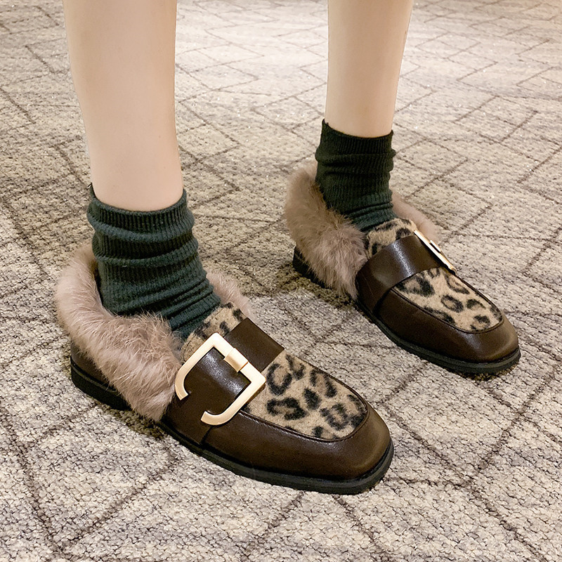 Winter Shoes Women Shallow Mouth Square Toe Loafers Fur Casual Female Sneakers Autumn 2019 Fashion Women's British Style Low 42