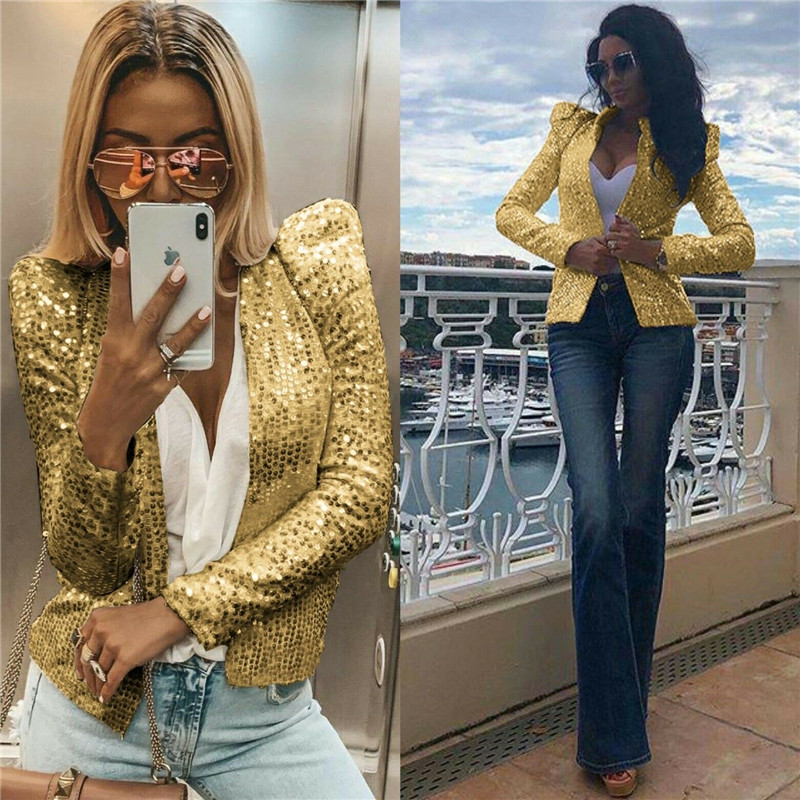 Clubwear 2020 Women Slim Sequins Blazer Jacket Top Outwear Long Sleeve Career Formal Long Blazers Suits