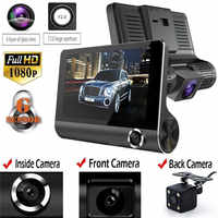 Nuevo 4,0 pulgadas 1080P 3 lente Full HD coche DVR Cámara 170 grados retrovisor coche Dash Cámara g-sensor cámara de automóvil grabadora 2019 df