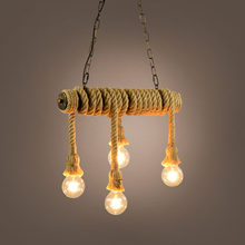 Hemp Rope Pendant Lights Vintage Retro Loft Industrial Hanging Lamp for Living Room Kitchen Home Light Fixtures Decor Luminaire(China)