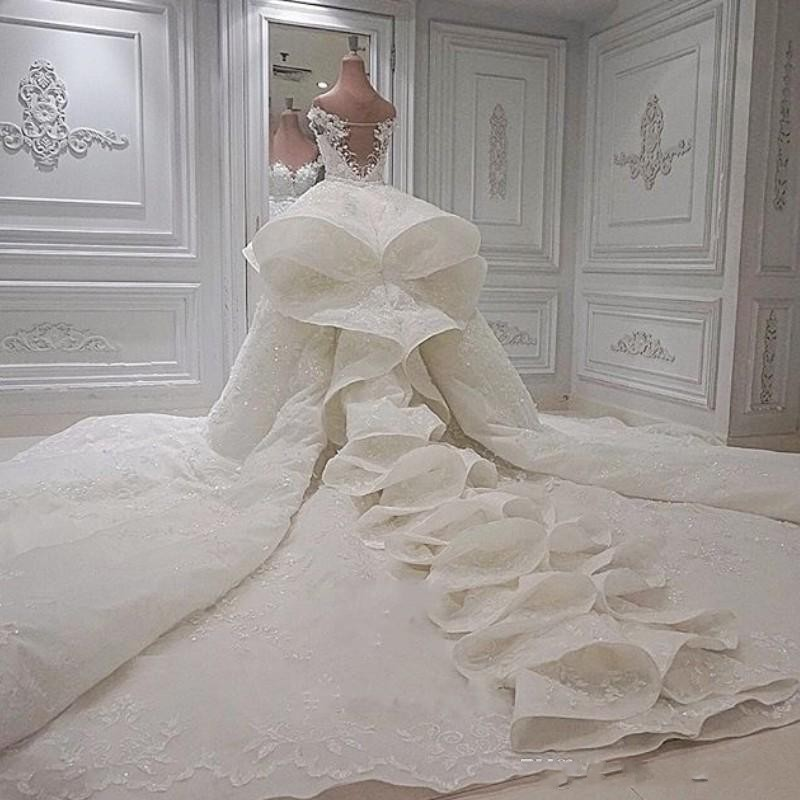Luxury Mermaid Wedding Dresses With Detachable Train 2020 Lace Off The Shoulder Ruffles Bridal Gowns Custom Made Robe De Mariee