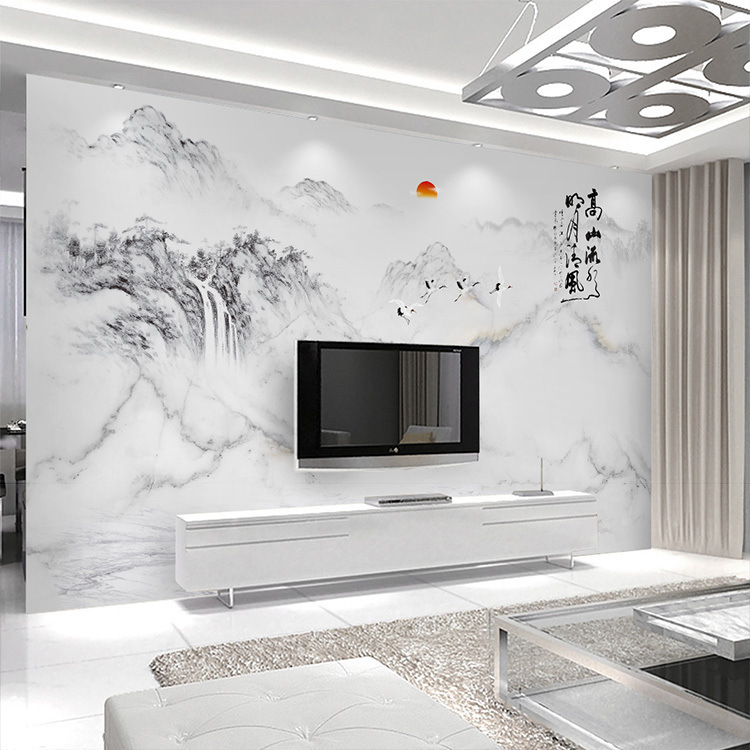 Ge Lan Modern New Chinese Style Ink Landscape Painting Marble Wallpaper Living Room 5D TV Background Wallpaper Seamless Mural