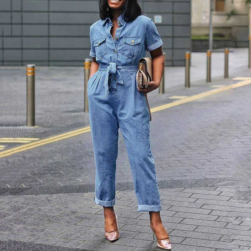 Plus Size 3XL African Casual Denim Jumpsuit Women Plain Lace-Up Straight High Waist Jumpsuit Button Pocket Rompers 2019 Jumpsuit