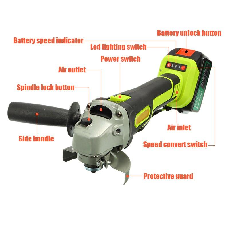 128 V/228 V elektryczna szlifierka kątowa akumulatorowa o dużej pojemności polerka polerka szlifierka do drewna zestaw narzędzi do cięcia metalu