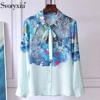 Svoryxiu Fashion Designer Summer Office Lady Silk blouse Shirt Women's Elegant Blue Flower Print Long Sleeve Loose Blouse Tops