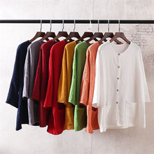 Women Vintage Cotton Linen Jackets Solid Candy Color Button Patchwork Coats With Pockets 2021 Summer Female Jackets Plus Size