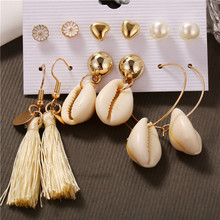 Delicate 6 Pairs Women Round Imitation Pearl Heart Stud Earrings for Piercing Set Wedding Party