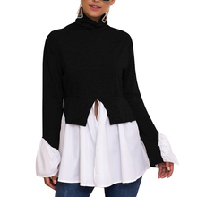 Loozykit Womens Spring Knit Sweater Patchwork Pullover Turtleneck Flare Sleeve Long Irregular 2019 New