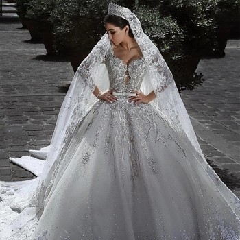 Video Robe De Mariee 2020 Big Ball Gown Wedding Dresses Lace Vestido Noiva Mariage Bridal Luxurious