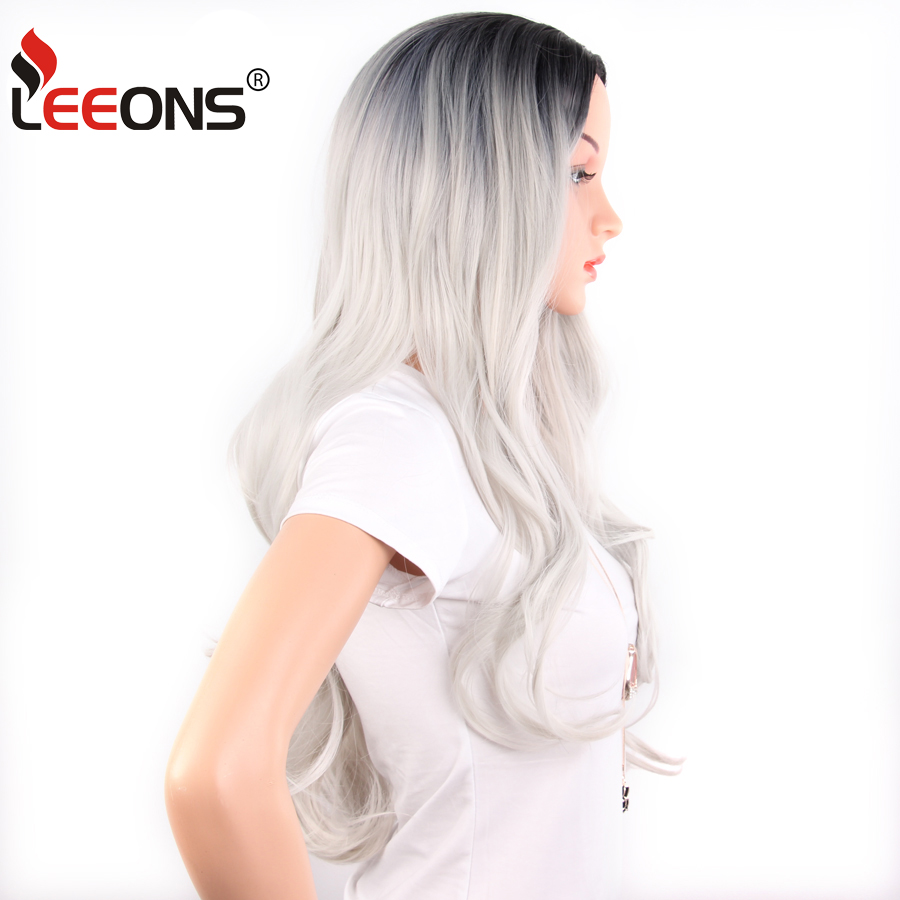 Leeons Silver Violet Brown Blonde Synthetic Wig Body Wave  Heat Resistant Fiber For Black Women Cosplay Wig Curly Ombre Blond