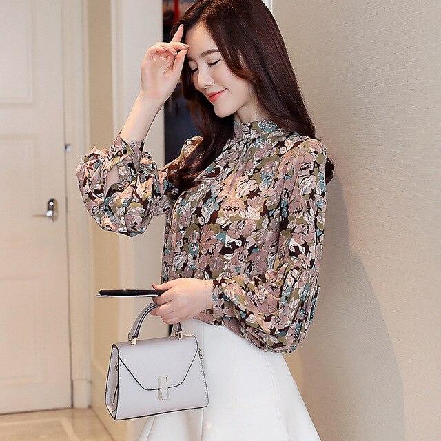 Fashion woman blouses 2020 print chiffon blouse shirt womens tops and blouses long sleeve women shirts blusas femininas 3