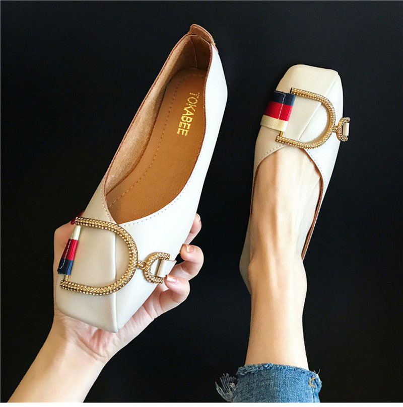 2020 Women's Shoes Spring, Summer, Autumn And Winter Water Drill Buckle Joker Soft Square Head Shallow Heel Shoes