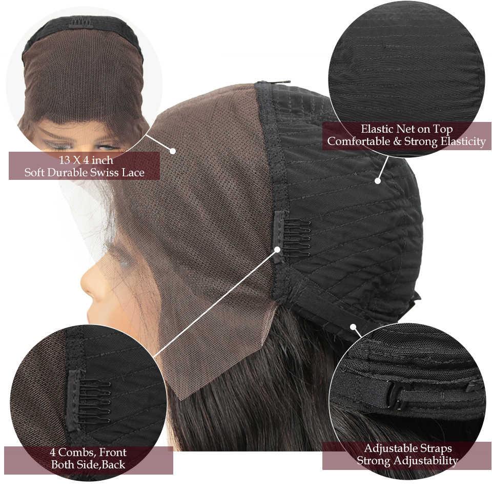 Élégant brésilien Remy 13x4 dentelle avant perruques de cheveux humains 30 pouces 180% densité vague de corps pré plumé avant de lacet perruques pour les femmes noires